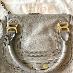 Chloe Medium Marcie Leather Satchel Gray